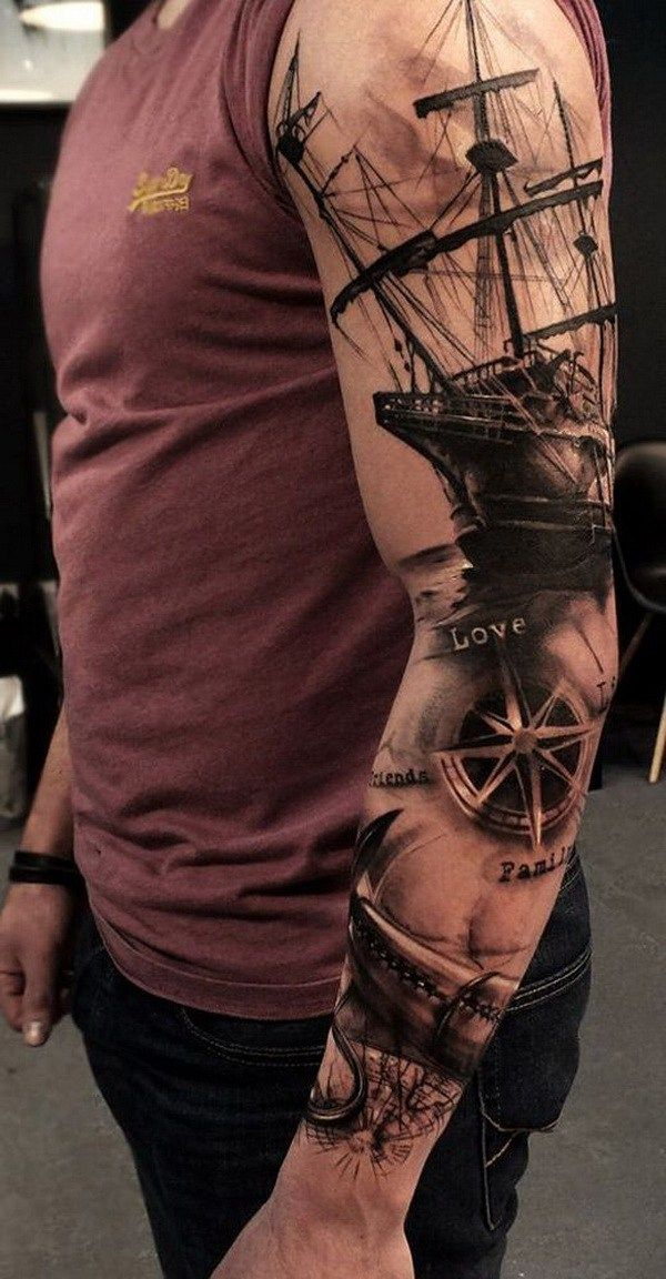 30 Cool Sleeve Tattoo Designs Tatoos Piratas Pinterest