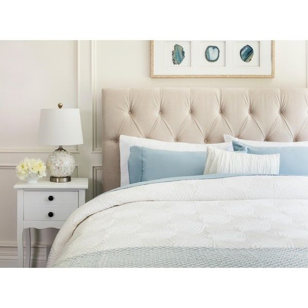 Abbyson Connie Tufted Ivory Velvet Queen Full Headboard Bed For