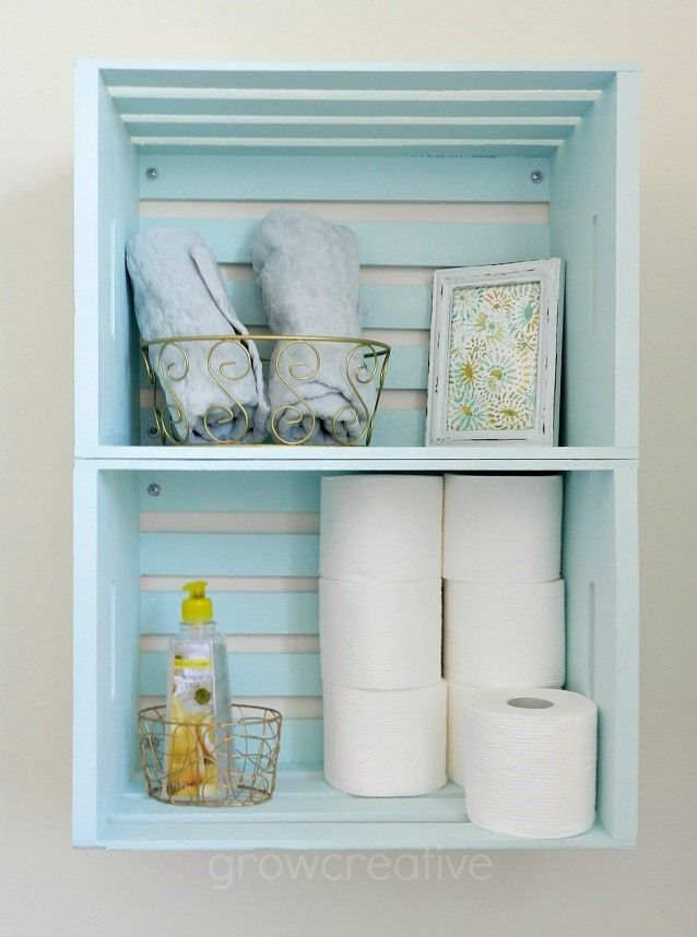 Blue Wooden Crate Storage For The Bathroom DlY Pinterest