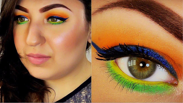 COLORFUL SUMMER MAKEUP Orange Blue Eyeliner Yellow And Green Tutorial