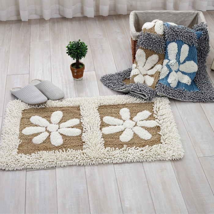 Cotton Chenille Shaggy Rug Handmade Soft Doormat Kids