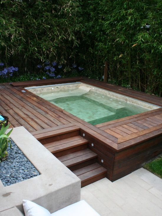 Custom Hot Tub Lined With Handset Tile A Electric Pool Cover