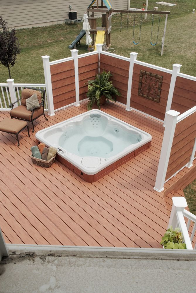 Deck With Privacy Screen In Virginia Hot Tub The