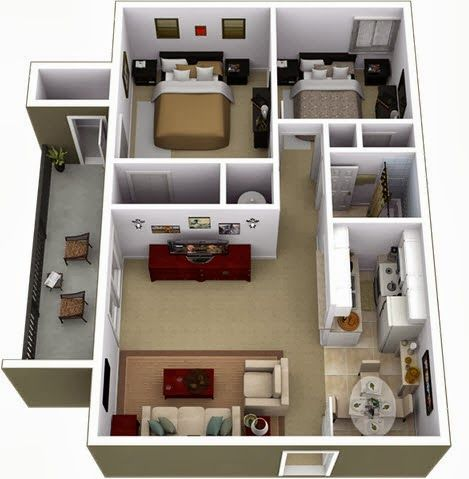 Departamentos Peque Os Planos Y Dise O En 3D Lofts House And