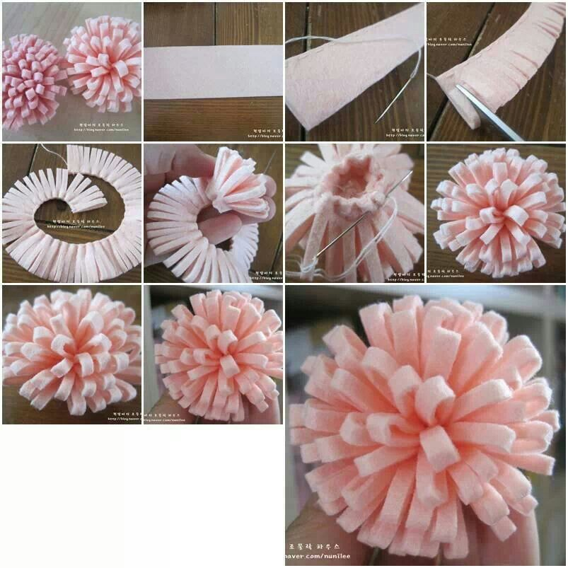 DIY FELT FLOWER You Could Easily Replace The Stitching W Hot Glue