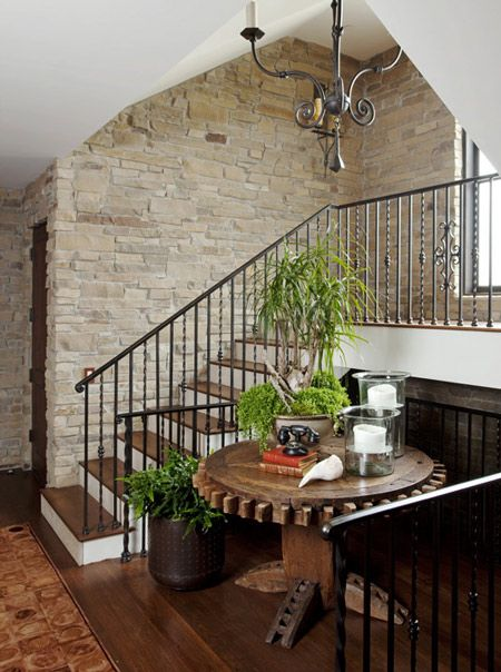 Escaleras Con Paredes De Piedra DECORACION Pinterest