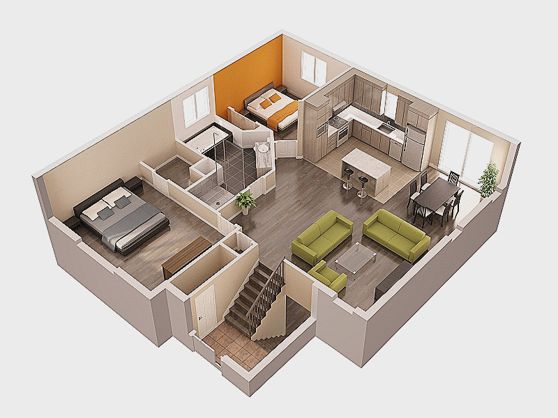Anything Of Home: Petite Maison 2 Chambres Plans 3d