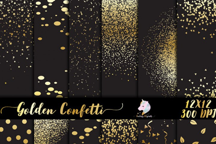 Gold Confetti Overlay PNG By Fantasy Cliparts TheHungryJPEG Com