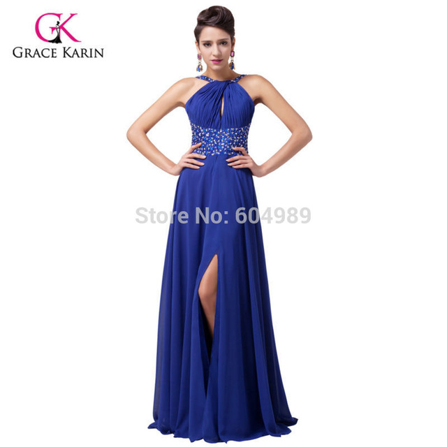 Grace Karin Sexy Women Front Slit Royal Blue Prom Dresses 2018