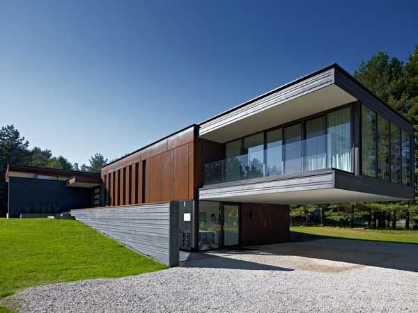 Great Cantilevered Entrance Cor Ten Steel Fa Ades Arquitectura