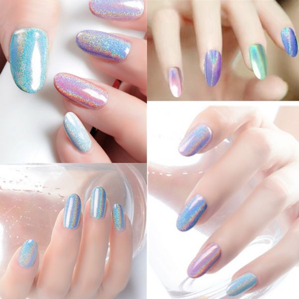 Holographic Laser Nail Art Powder Holo Effect DIY Powders Silver