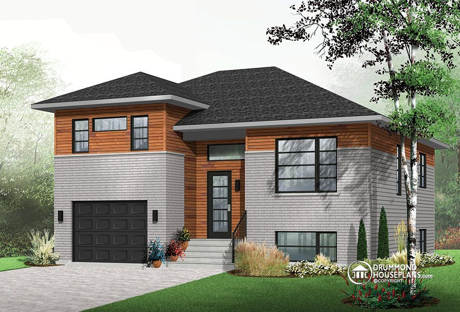 House Plan W3490 Contemporary Contemporain Maison Modern