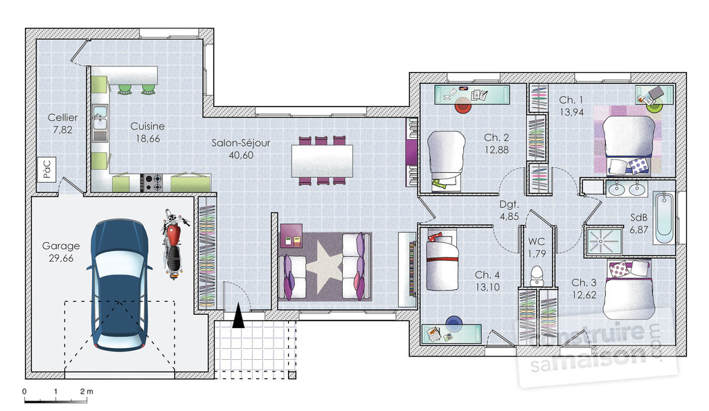 Joli Plan Maison Plain Pied Gratuit De Album Photo D39image 80M2