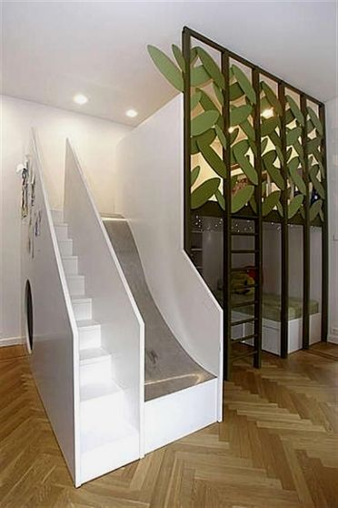 Kids Room With Stairs Slide And A Bed On The Bottom Top