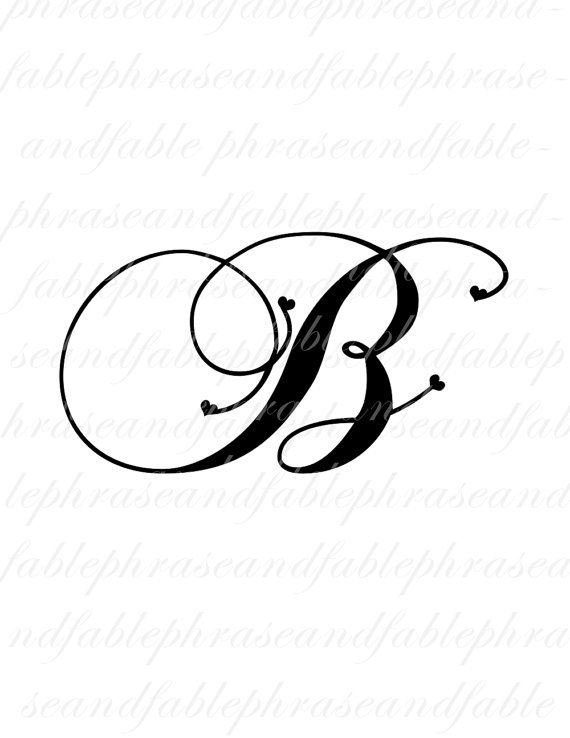 Letter B Hearts 273 Digital Download Alphabet Initial Name Glyph