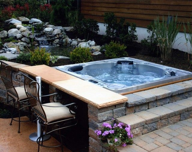 Like This Hot Tub Surround In Stucco Too Match Hse Maybe Deeper