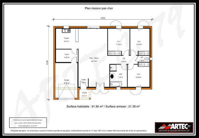 Lovely Plan Maison T4 Plain Pied 9