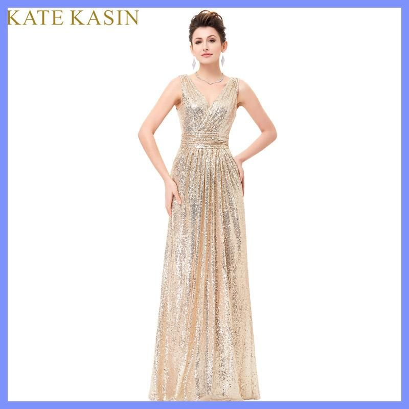 Luxury Gold Silver Long Sequin Evening Dress Pink Double V Neck