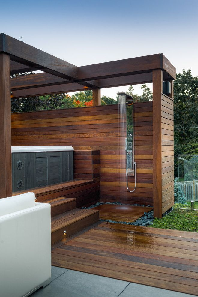 Luxury Outdoor Hot Tub Patio Contemporary With Stair Lighting Raised