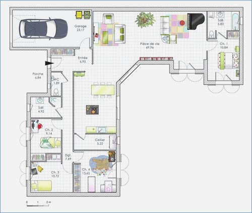 Maison Plain Pied 120m2 Plan 12 Pi Ces 76 M2 Dessin Par Newsindo Co