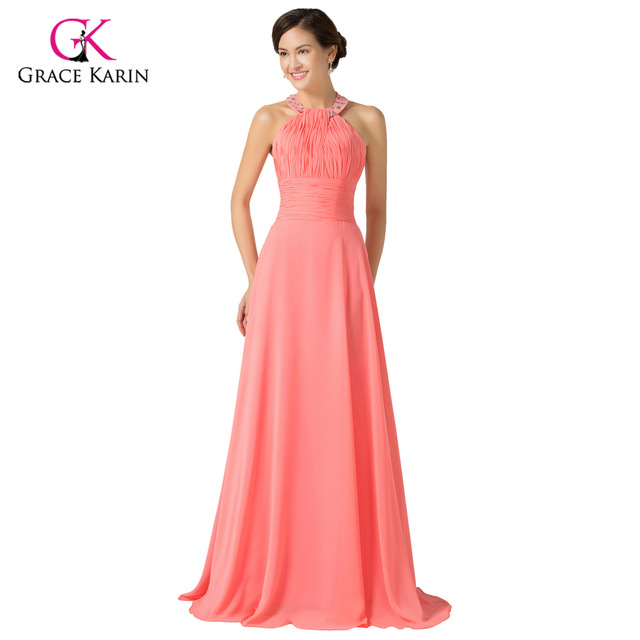New Evening Dress Grace Karin Real Sample 2018 Watermelon Halter