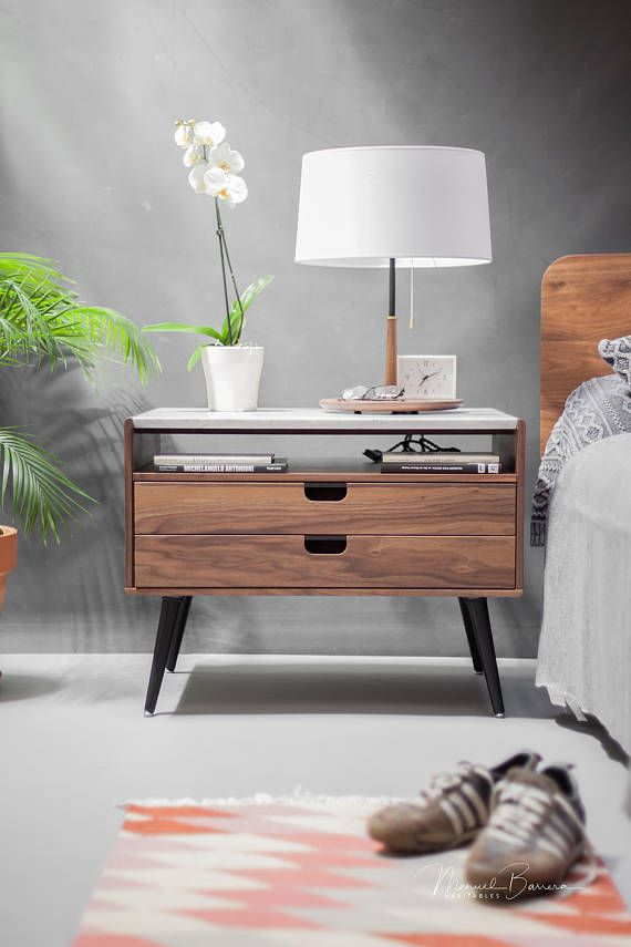 Nightstand With Two Drawers In Solid Walnut Oak Wood Board And On