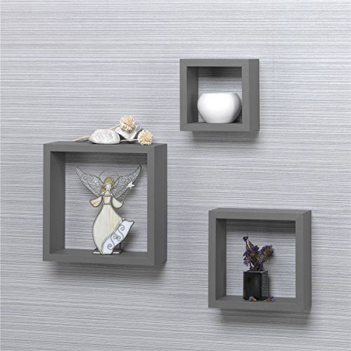 O K Furniture Modern Home 3 Pieces Grey Square Cube Wall Shelf Set