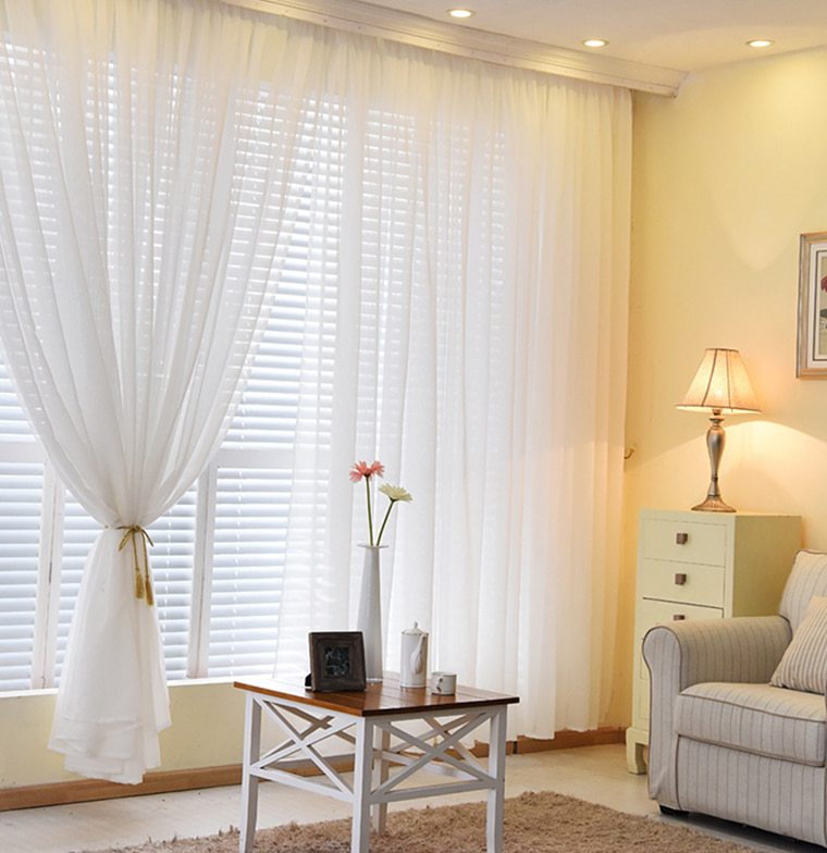 Organza Cortinas Para Sala Colores S Lidos Sheer Home Dormitorio