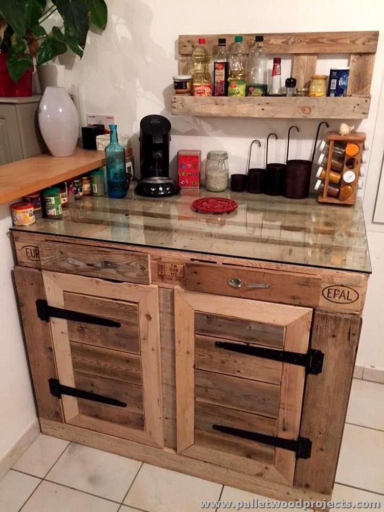 Pallet Kitchen Cabinet With Glass Top Cocina Pinterest Muebles