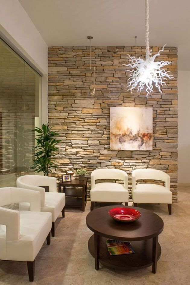 Pared Piedra Salon Home Pinterest Medical Office Design