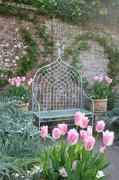 Pashley Manor Gardens Pink Tulips And Bench By Kate Wilson
