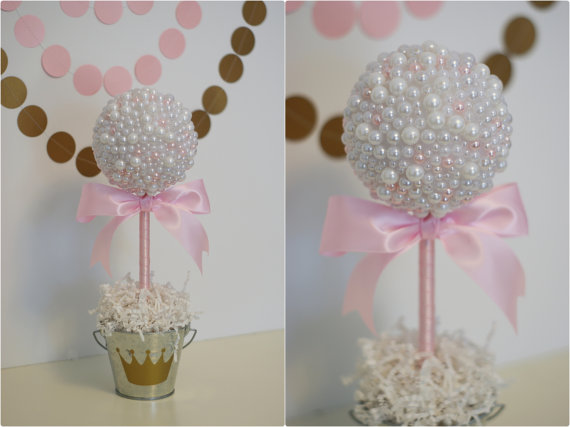 PEARL CENTERPIECES White Pink Pearls Baptism Centerpiece Pearl