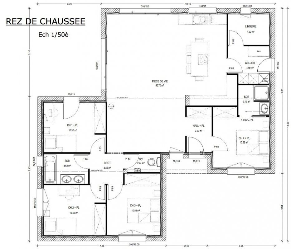 Plan D Une Maison De 120m2 Davidreed Co