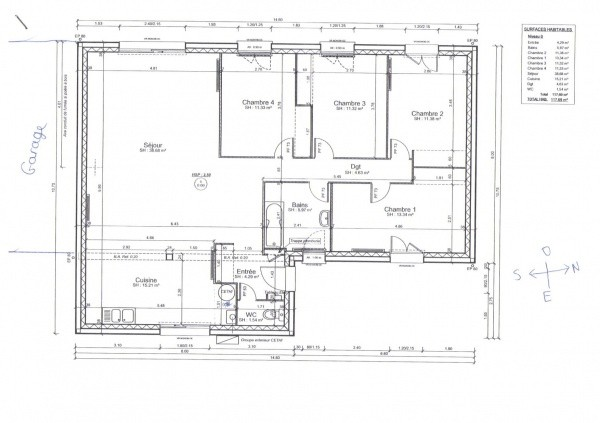 Plan D Une Maison De 120m2 Plain Pied Davidreed Co