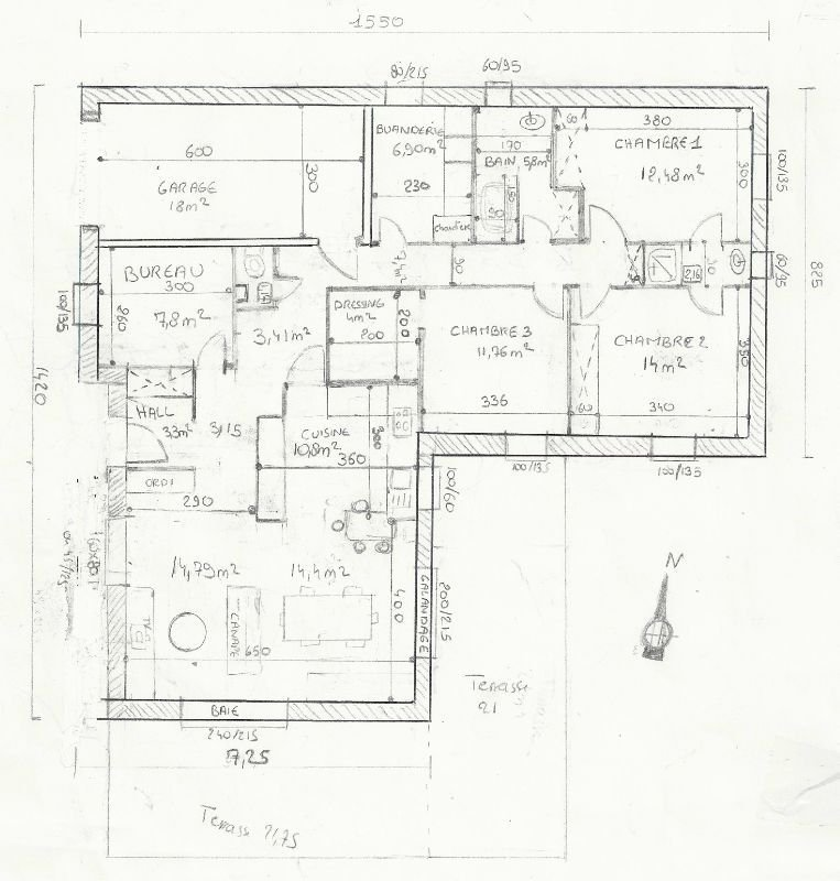 Plan De Maison 120m2 4 Chambres L Gant Pinterest The