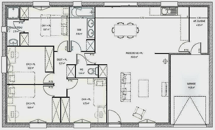 Plan De Maison 120m2 Plain Pied Unique Antillaise