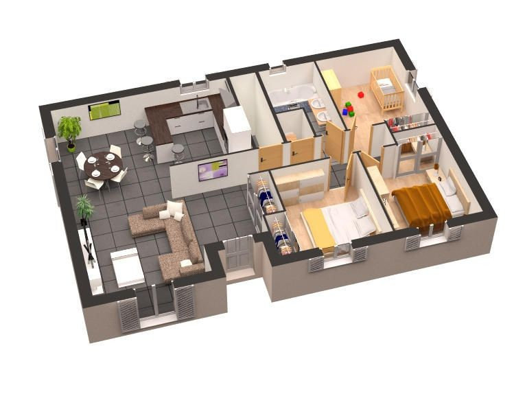 Plan De Maison Moderne 3d Homewreckr Co Ipsita