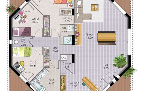 Plan De Maison Originale Une Octogonale Sims Architecture And Feng