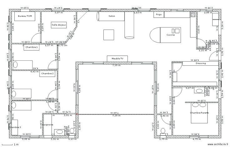 Plan De Maison Plain Pied 100m2 Co 110m2 Placecalledgrace Com