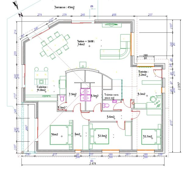 Plan De Masse D Une Maison 1 Facade Lzzy Co 120m2 Newsindo 6