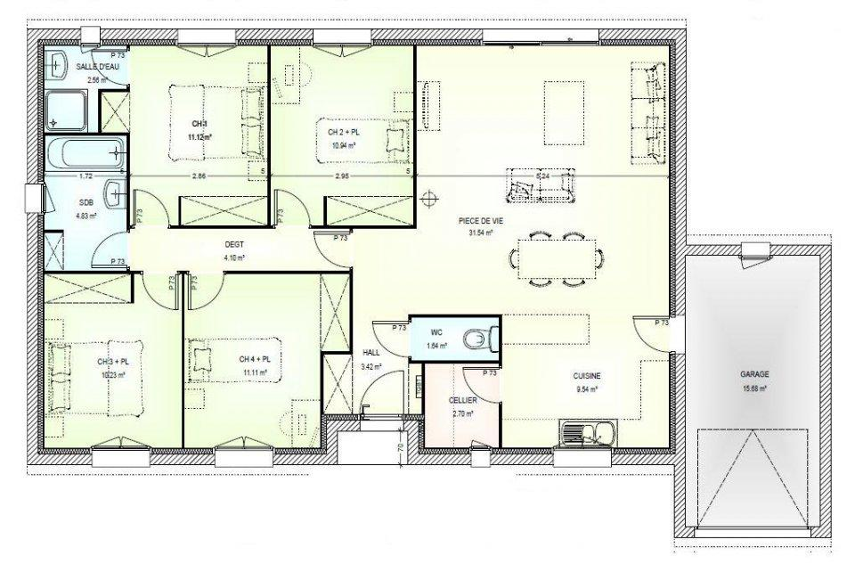 Plan Maison 100m2 4 Chambres Decorating Ideas