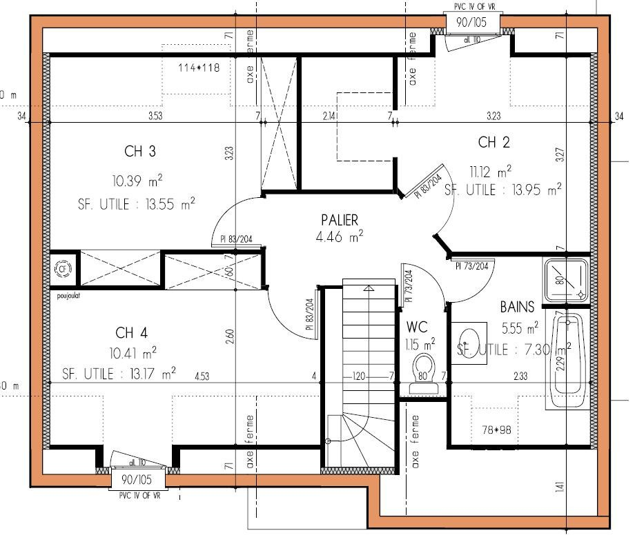 Plan Maison 100m2 A Etage 4 Chambres 0 Lzzy Co A1group