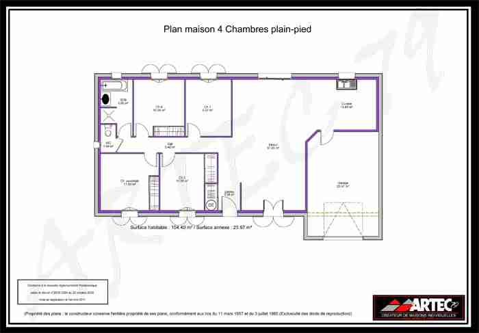 Plan Maison 100m2 Plein Pied 3 Chambres Download By Sizehandphone