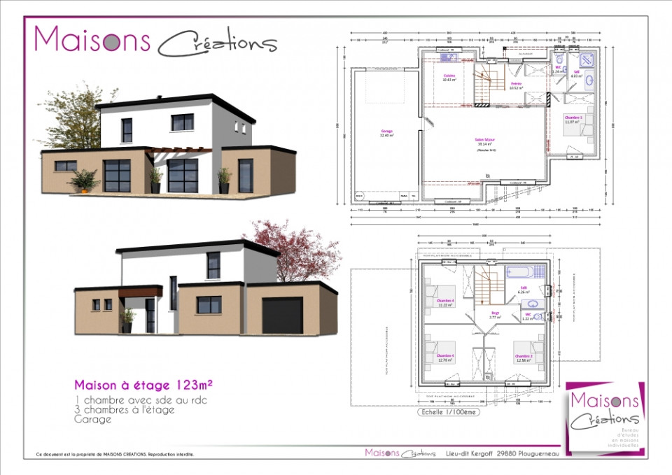Plan Maison 100m2 Tage Amazing R M With