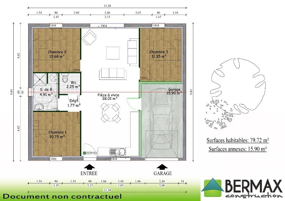 Plan Maison 3 Chambres 1 Salon Latest Tage De 110m2 100m2