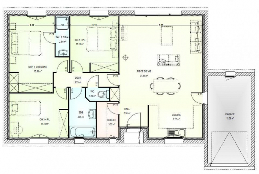 Plan Maison 3 Chambres Plain Pied De Newsindo Co Regarding 30