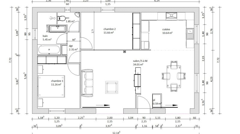 Plan Maison 80m2 2 Chambres Beautiful