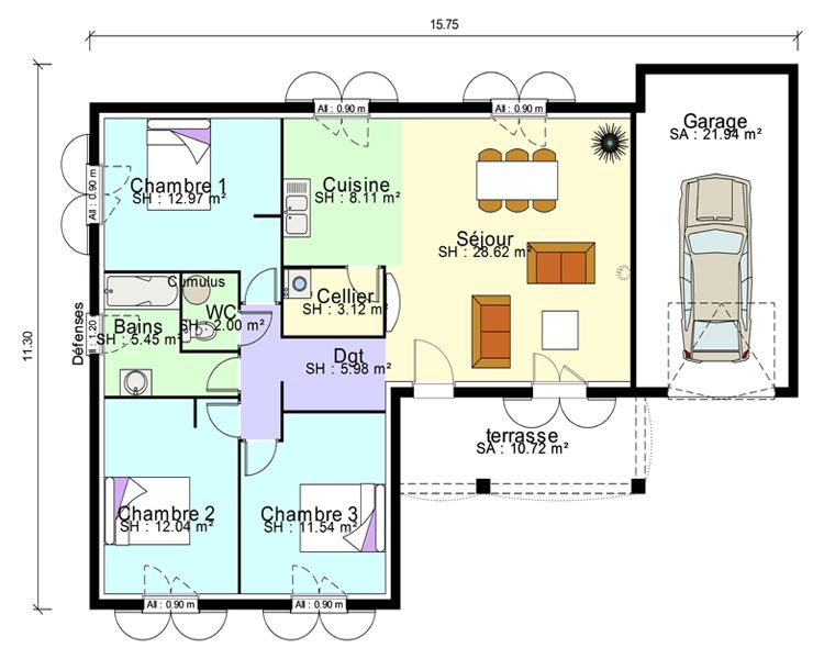 Plan Maison Contemporaine Plain Pied En L 3 Chambres Et Garage Politify Us