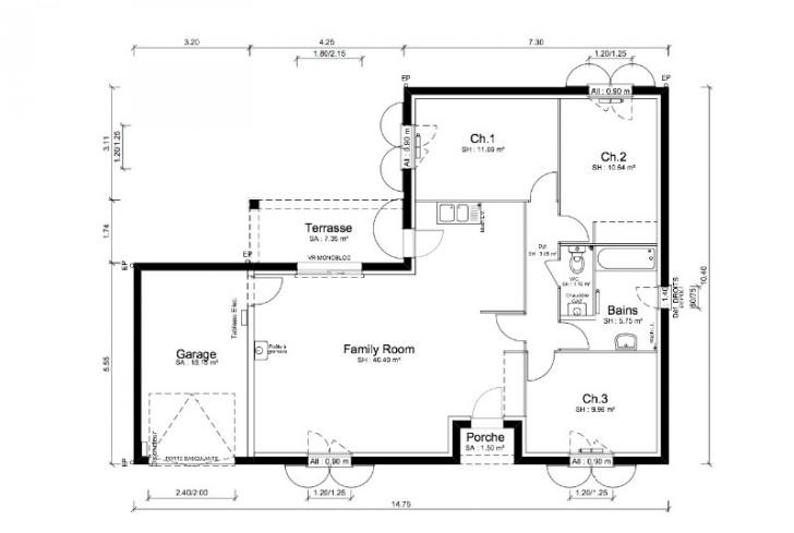 Plan Maison En L Idees De Dcoration