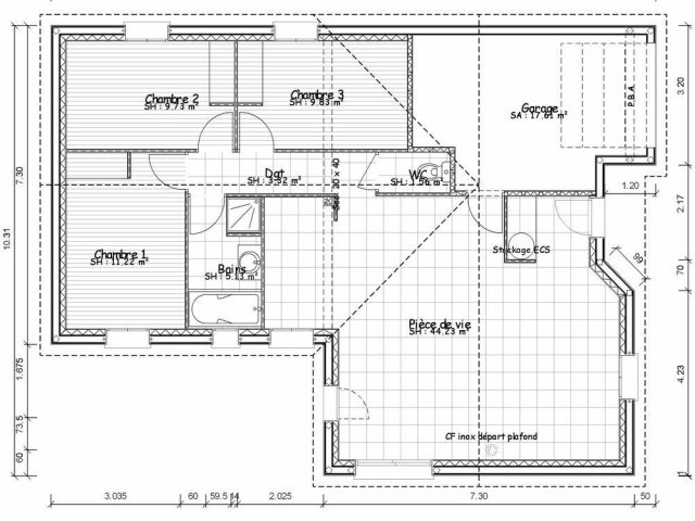 Plan Maison En T Contemporaine Plain Pied Jpg 1000 819